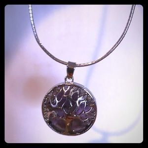 Amethyst Tree of Life Pendant Silver Genuine Stone